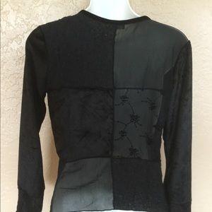 J. Jill Sexy Black Lace Patchwork Shirt M EUC